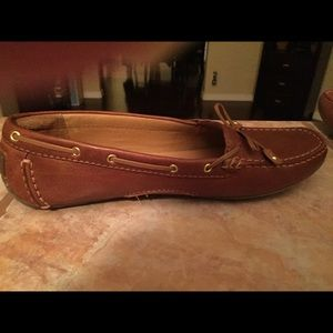 Clark's brown leather flats